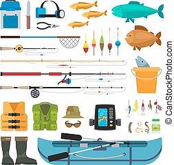 lakás, vektor, halászat, ikonok