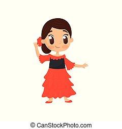lakás, vektor, ikon, közül, mosolyog lány, alatt, hagyományos, spanyol, wear., kicsi gyermekek, alatt, világos piros, dress., elképzel, jelmez, helyett, farsang