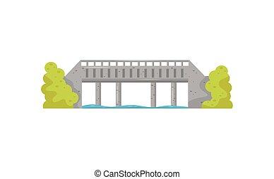 lakás, vektor, ikon, közül, nagy, megkövez bridzs, blue víz, és, zöld, bushes., sétány, keresztül, a, river., szerkesztés, helyett, szállítás