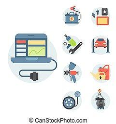 lakás, vektor, szolgáltatás, rendbehozás, autó, autó, ábra, felszerelés, alkatrészek, szerelő, autó, gépek
