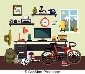 lakás, vektor, természetjáró, workplace