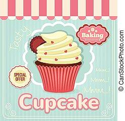 lakás, vektor, transzparens, cupcake