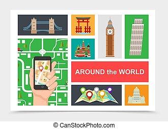 lakás, világ, zenemű, mindenfelé, utazás
