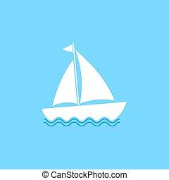 lakás, vitorlázik, ábra, csónakázik, vitorlázás, jacht, vektor, icon., hajó, design.