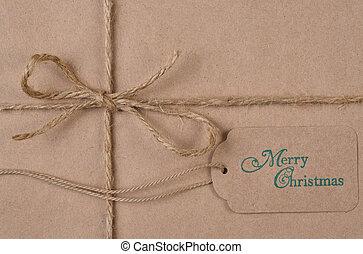 lakás, zsinór, barna, alföld, címke, dolgozat, dal, csomagolt, christmas ajándék