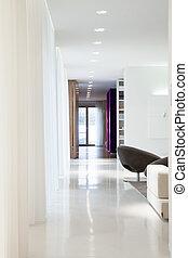 lakóhely, belső, finom, tervezett, belső, tágas