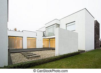 lakóhely, modern, tervezett, terasz