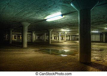 lakatlan, föld alatti, liget, autó