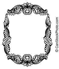 lakberendezési tárgyak, frame., klasszikus, szüret, keret, vektor, tükör