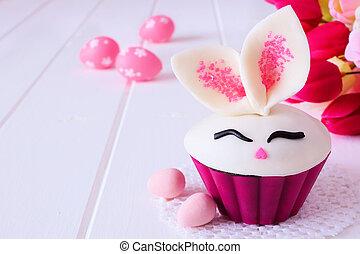 lakberendezési tárgyak, húsvét, felett, feláll, erdő, becsuk, fehér, cupcake, nyuszi