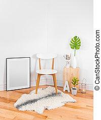 lakberendezési tárgyak, kényelmes, modern, fényes, művészi, szoba