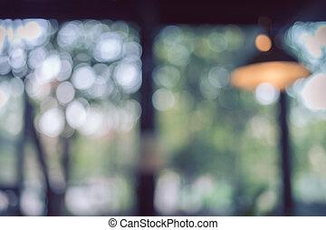 lakberendezési tárgyak, kép, fény, természet, bokeh, zöld háttér, elhomályosít, belső, gumó, kávéház