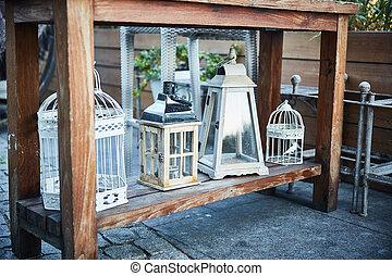 lakberendezési tárgyak, romantikus, fém, shby, madár, lanterns., sikk, style., kalitka
