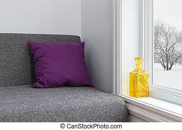 lakberendezési tárgyak, szoba, tél, fényes, kilátás