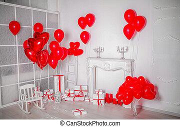 lakberendezési tárgyak, tehetség, fénykép, dobozok, műterem, vonal, white piros