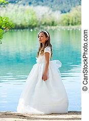 lake., φόρεμα , κορίτσι , επαφή
