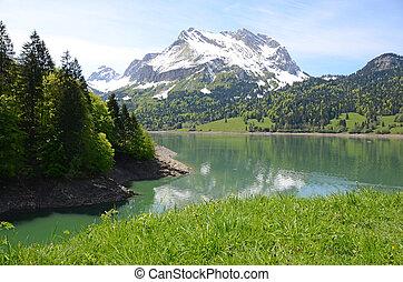 lake., スイス, 山
