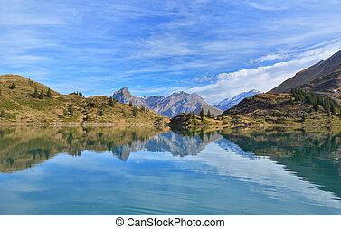 lake., スイス, 山, 美しい