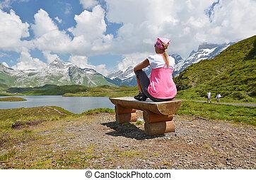 lake., 山, スイス, 旅行者