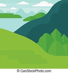 lake., 山, 風景, 背景