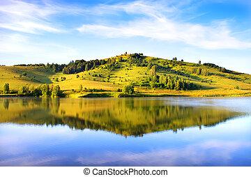 lake., 山, altai, russia.