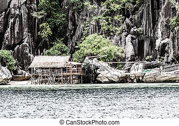 lake., 礁湖, トロピカル, 方法, 島, kayangan, coron
