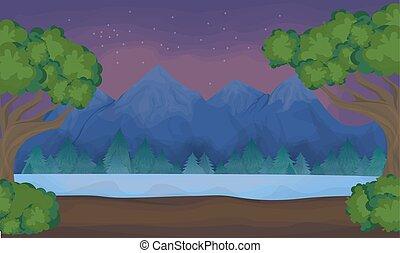 lake., 風景, 山