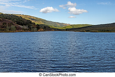 Lake and  Blue Cloudy Sky Landscape in South Africa