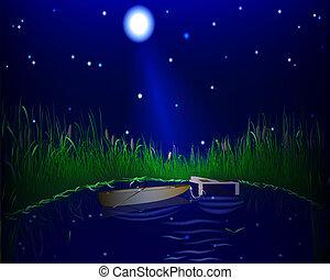 lake and boat night