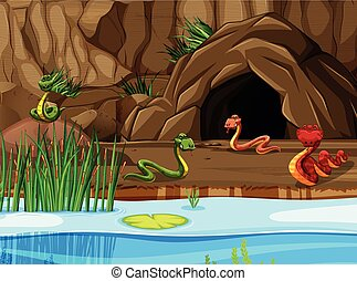 Lake and cave scene with snakes illustration