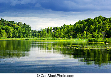 Lake and forest. - Beautiful lake view - bright interval ...