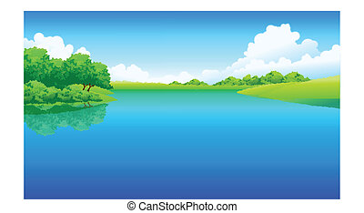 Lake and green landscape - This illustration is a common...