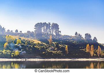 Lake and Hill Landscape, Chiloe Island, Chile
