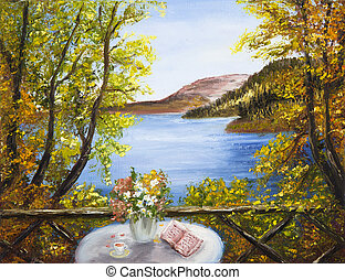 Lake and mountain - Original oil painting showing table with...