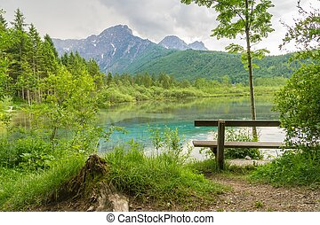 Lake and Mountains in Almsee in Austria.