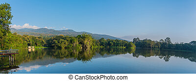 lake and the mountain with blue sky.