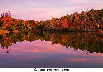 Forest lake surrounded by trees with fall color at dusk.