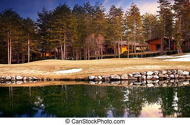 lake and villa