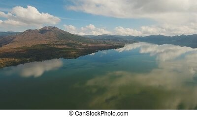 Lake and volcano Batur. Bali,Indonesia. - Aerial view...