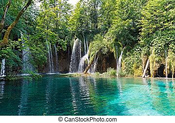Lake and waterfalls in Croatia - Waterfalls and lake in...