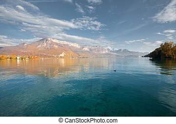 Lake Annecy Alps Autumn Colors H