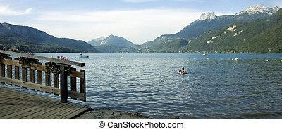 Lake Annecy and Dents de Lanfon - View of lake Annecy,...