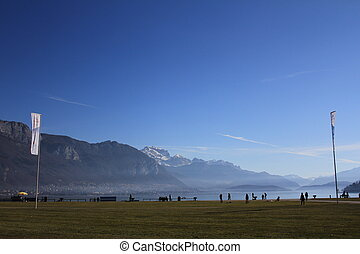 lake Annecy and mountains