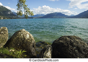 Lake Annecy and mountains - View of Lake Annecy with winds...