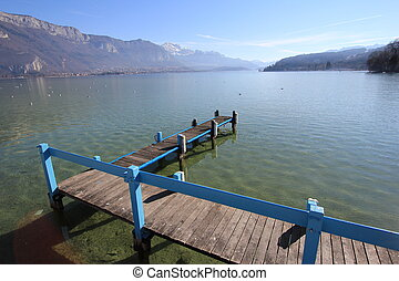 lake Annecy and sky blue