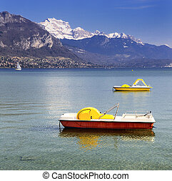 Lake Annecy - Beautiful view of the Annecy Lake in French...