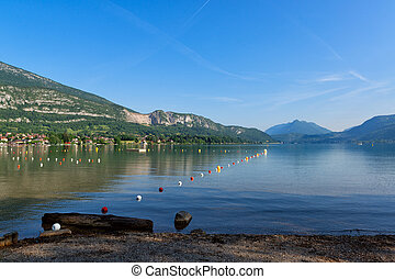 Lake Annecy, France - Beautiful lake Annecy surrounded by...