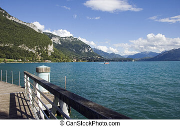 Lake Annecy from marina - View of the lake Annecy from...