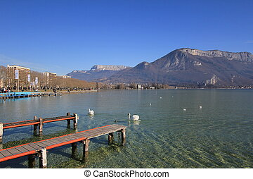 lake Annecy - Lake Annecy and birds and sky blue
