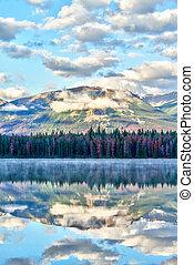 Lake Annette at Jasper National Park, Alberta, Canada